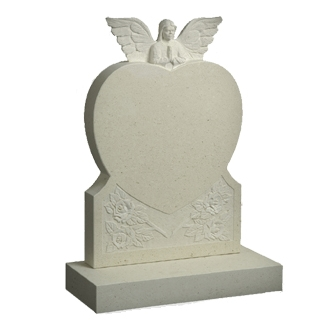 M68 - Heart and Angel Memorial with carved Roses